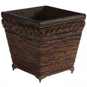 Lacquered Coiled Rope Decorative Planter - Brown