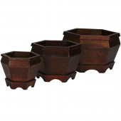 Wooden Hexagon Decorative Planter (Set of 3) - Burgundy