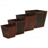 Bamboo Square Decorative Planters (Set of 4) - Burgundy