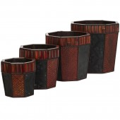 Bamboo Octagon Decorative Planters (Set of 4) - Burgundy