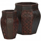 Design and Weave Panel Decorative Planters (Set of 2) - Burgundy