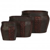 Oval Decorative Planter (Set of 3) - Burgundy