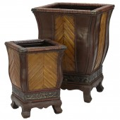 Decorative Wood Planters (Set of 2) - Brown
