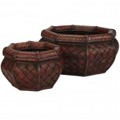 Rounded Ocatagon Decorative Planters (Set of 2) - Burgundy