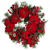 "24"" Poinsettia Wreath - Holiday"