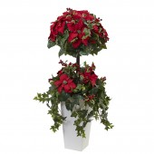 4' Poinsettia Berry Topiary w/Decorative Planter