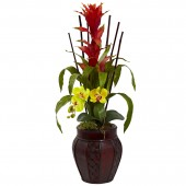 Bromedliad & Orchid Combo w/Planter - Yellow