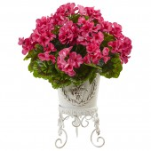 Geranium with Metal Planter UV Resistant (Indoor/Outdoor) - Beauty