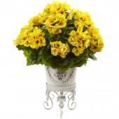 Geranium with Metal Planter UV Resistant (Indoor/Outdoor) - Yellow